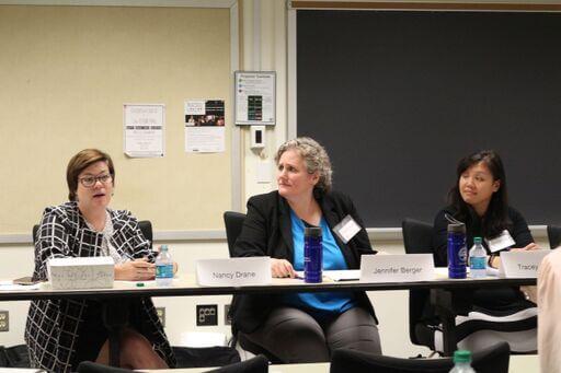 Photo: 2018 Poverty Law Panelists Nancy Drane, Jen Berger, And