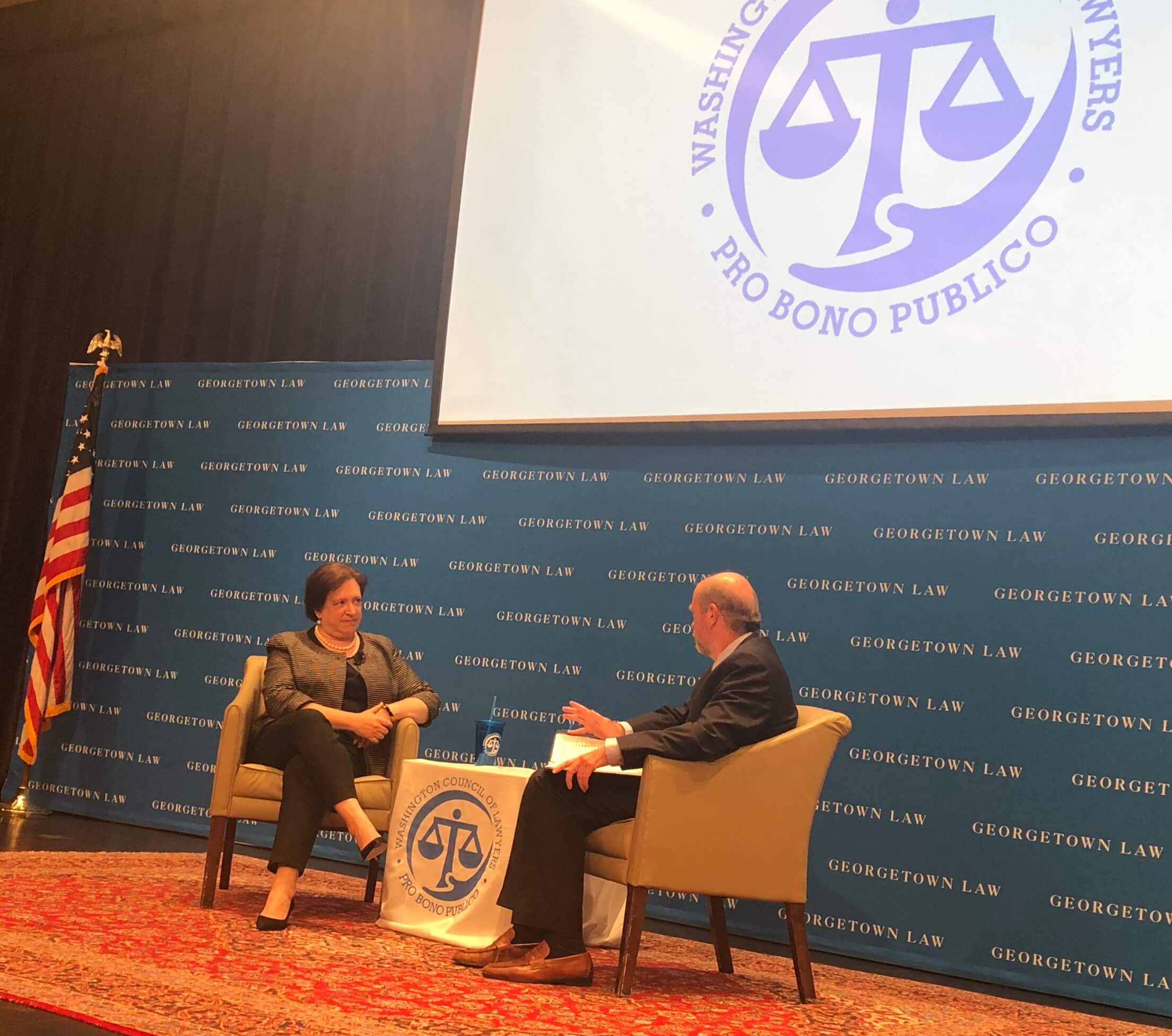 Photo: Justice Kagan & Dean Treanor Seated Facing Each Other