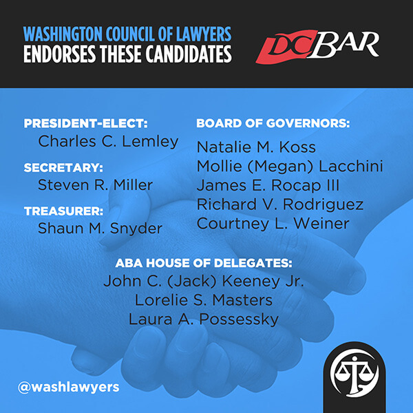 Graphic: 2020 DC Bar Candidate Endorsements